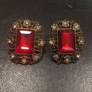 Cool Vintage Ruby Earrings
